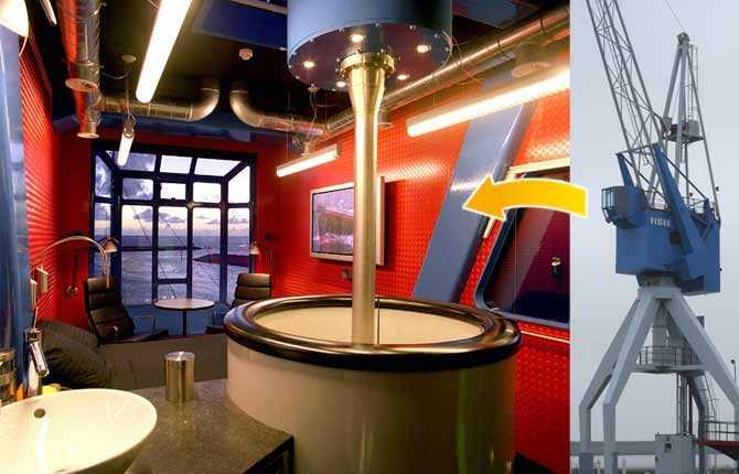 DOCKSIDE CRANE HOTEL I holländska Harlingen, nordväst om Amsterdam, kan du checka in i den här f d hamnkranen. Faktum är att den fortfarande fungerar, trots att maskinrummet omvandlats till ett lyxigt dubbelrum. Du slipper klättra upp då den utvändiga stegen kompletterats med en bekväm hiss. Prisläge: Från drygt 300 euro/natt.