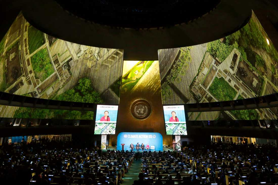 Greta Thunberg talar i FN.