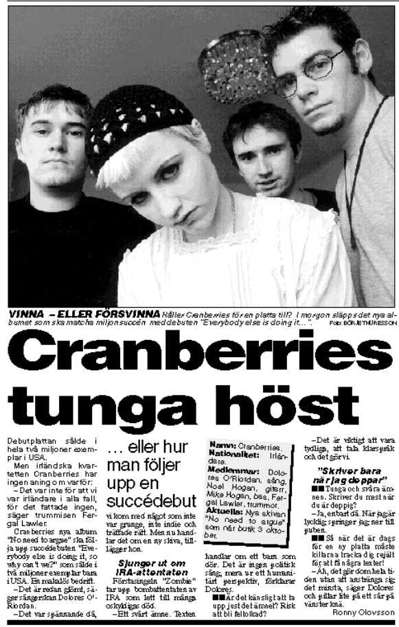 Intervju med Cranberries i Aftonbladet 1994
