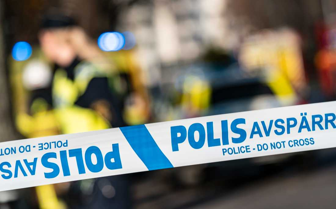 He has been shot in Södertälje.  Stock Photography.