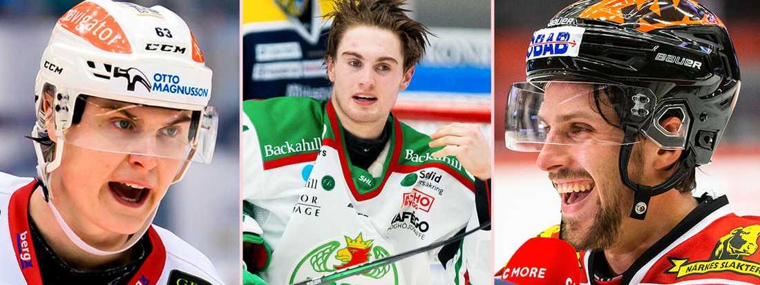 Fredrik Händemark (v), Nils Höglander (m) och Mathias Bromé (h) – tre SHL-stjärnor som kan bli kvar trots NHL-avtal.
