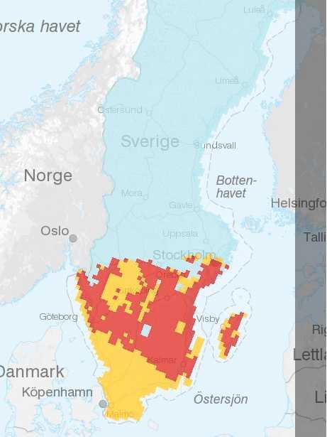 Gräsbrandsrisken under onsdagen enligt SMHI.