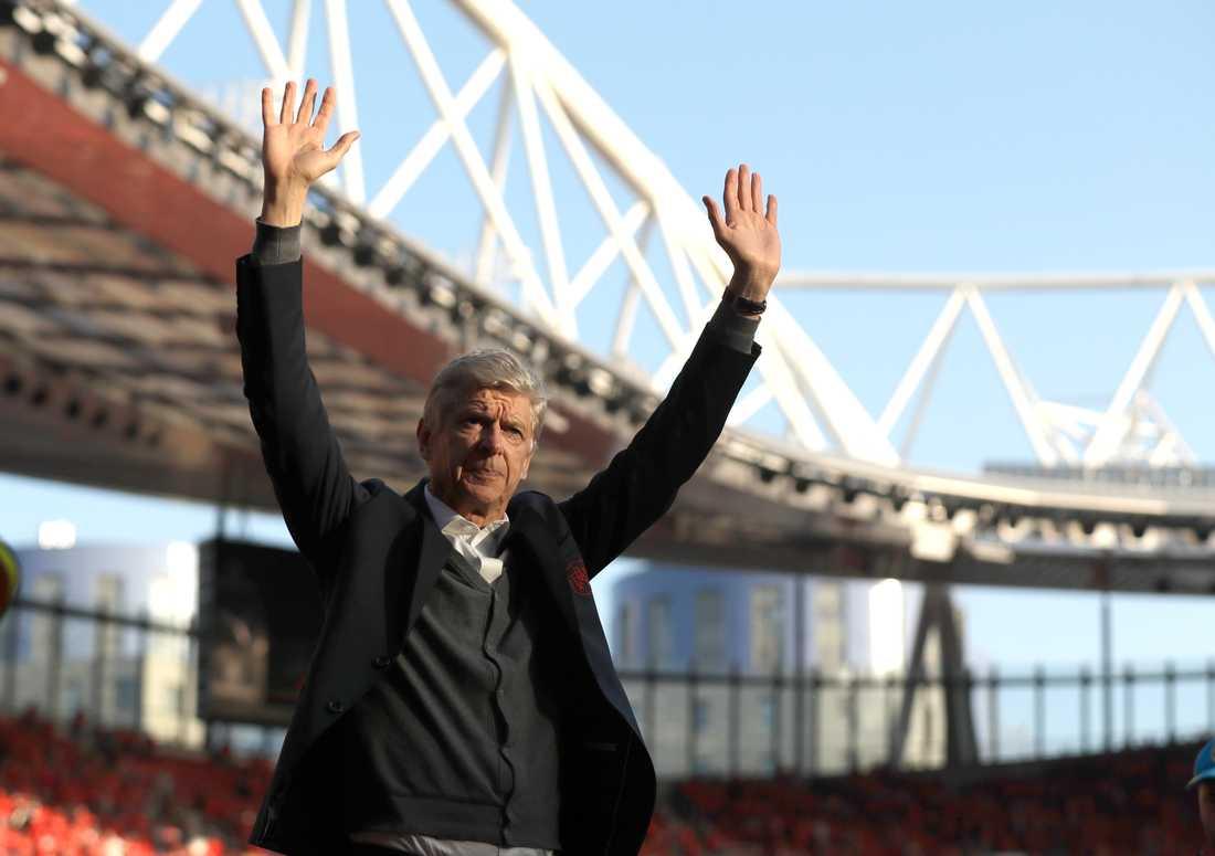 Arsène Wenger efter sin sista match som Arsenal-tränare våren 2018.