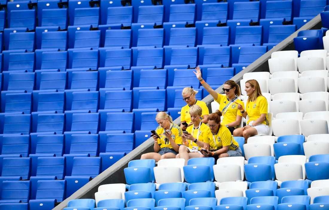 Några svenska fans på plats i Samara.