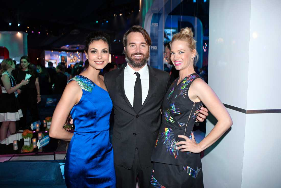 Morena Baccarin, Will Forte och January Jones på partaj i maj i år.