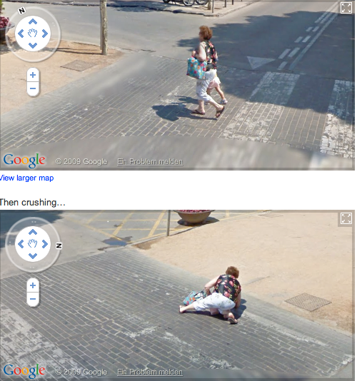 En rundnätt kvinna passerar ett övergångsställe framför Googlebilen, tillsammans med ett barn. Plötsligt kastar hon sig ner på marken – över barnet. Såklart.
