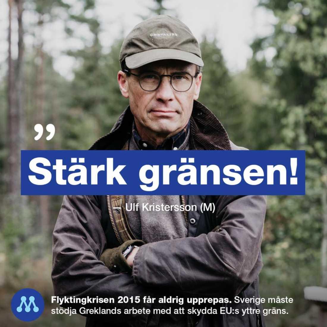 Bilden på Ulf Kristersson lades upp på Moderaternas Facebooksida.