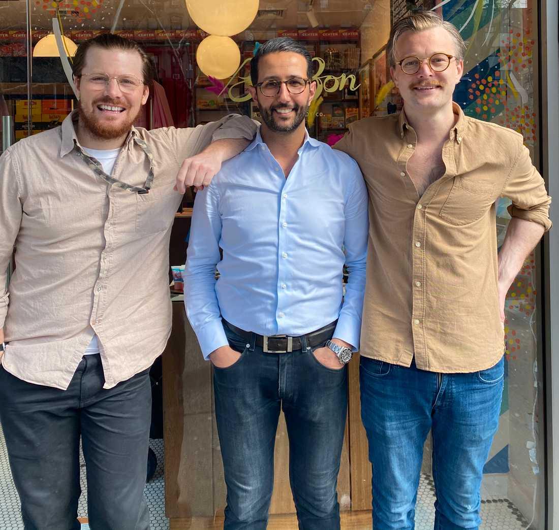 Robert Persson, Selim Adira och Leonard Schaltz driver den svenska godisbutiken i New York.