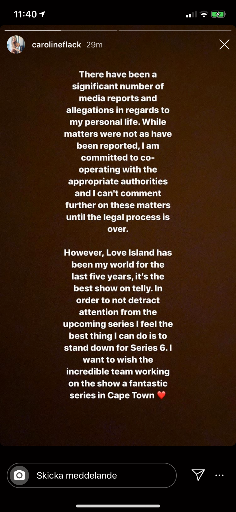 """Caroline Flack skriver på sin Instagram om att hon hoppar av som programledare för """"Love island"""""""