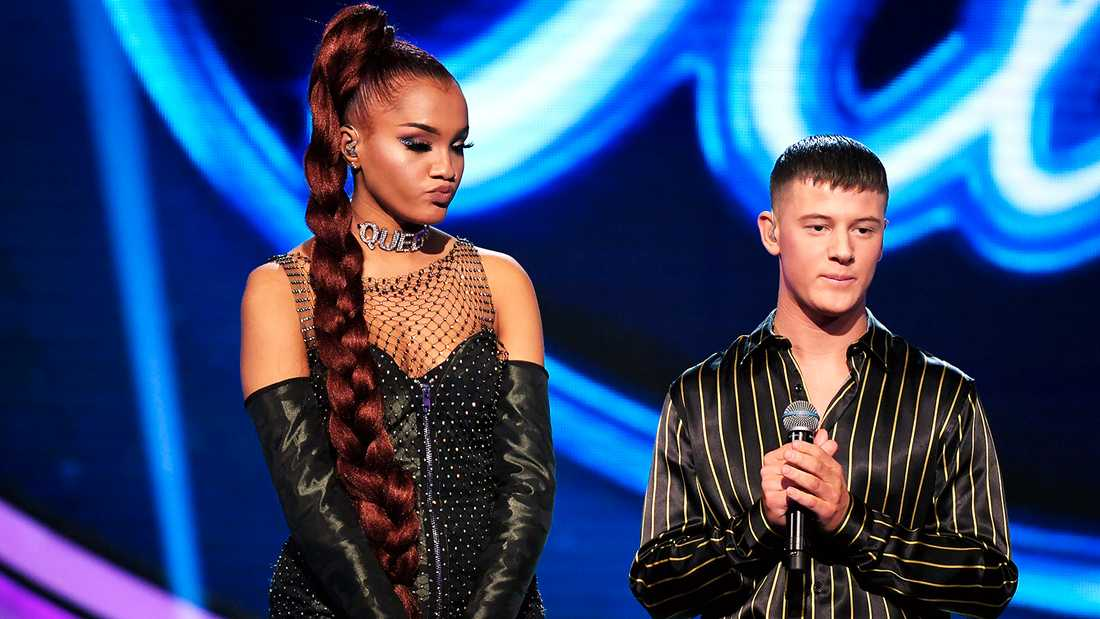 """Idol""-finalisterna Kadiatou Holm Keita och Sebastian Walldén."