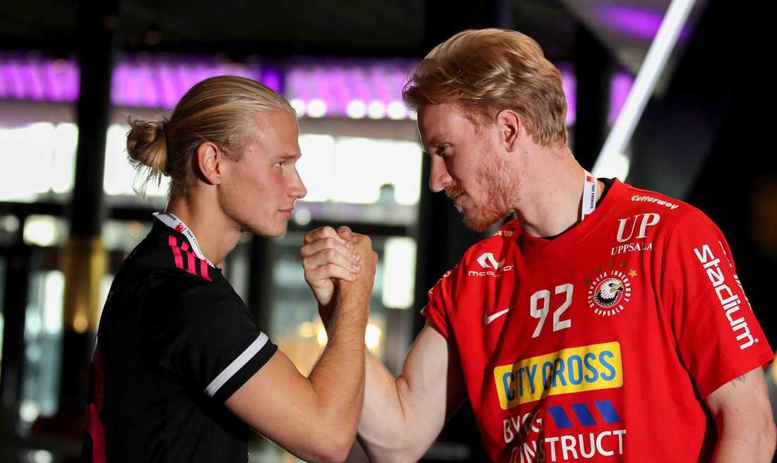 Faluns Casper Backby och Storvretas Alexander Rudd under upptaktsträffen i