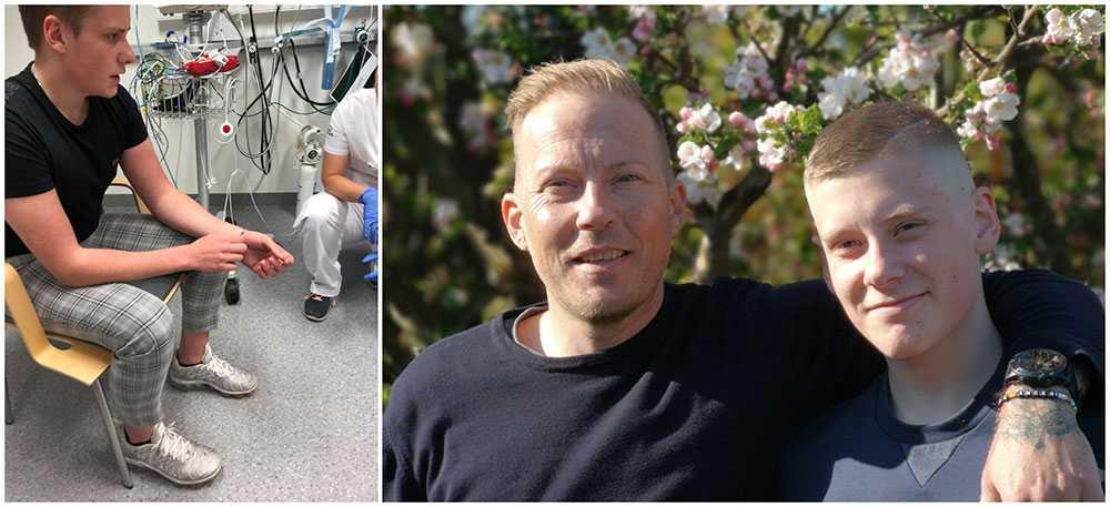 Joakim Bentsen och hans son Oliver räddade en kvinna ut ur en lägenhet som stod i brand i Helsingborg. Alla klarade sig med lindriga skador.