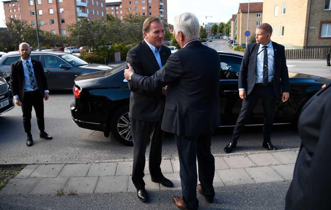 Statsminister Stefan Löfven på besök i Katrineholm på onsdagsmorgonen.