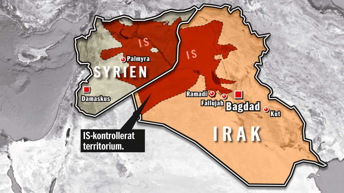 Här styr IS. Område som kontrolleras av Islamiska staten (läget 20 maj 2015).