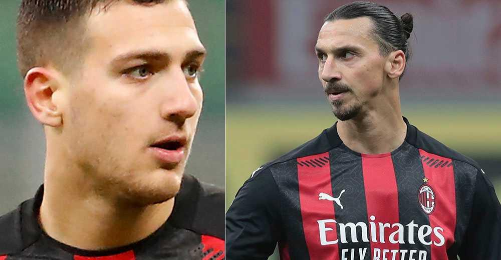 Diogo Dalot och Zlatan Ibrahimovic.
