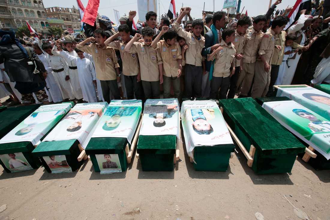Den saudiskledda koalitionens flyganfall har skördat många civila offer. Arkivbild.
