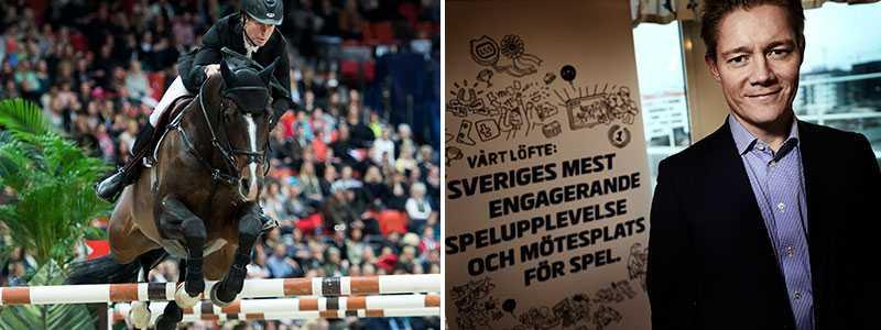 """LÅTSASTRAV  Har du alltid drömt om att få spela på Rolf-Göran Bengtsson när han hoppar? Eller på animerade låtsas-hästar? Då behöver du inte vänta länge till. I går gav regeringen ATG klartecken att utveckla sina spelformer. Näst på tur kan med andra ord vara virtuella travlopp och hästhoppning. """"Det är fortfarande hästar"""", säger ATG:s vd Hans Skarplöth, till höger."""