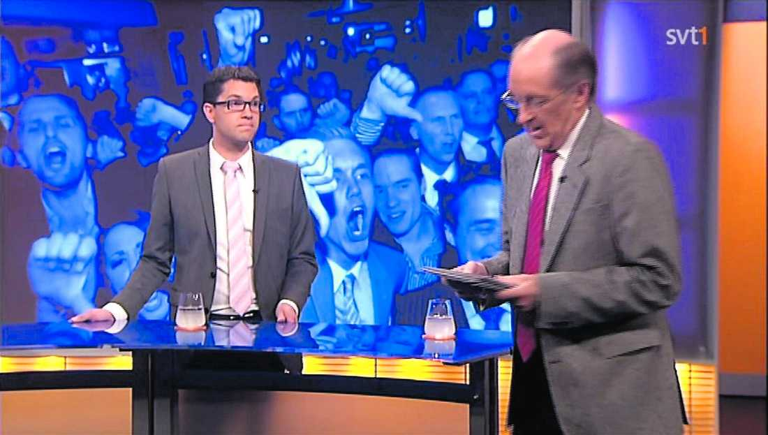 ställd mot väggen Under gårdagens debatt gick programledaren K-G Bergström hårt åt Jimmie Åkesson.