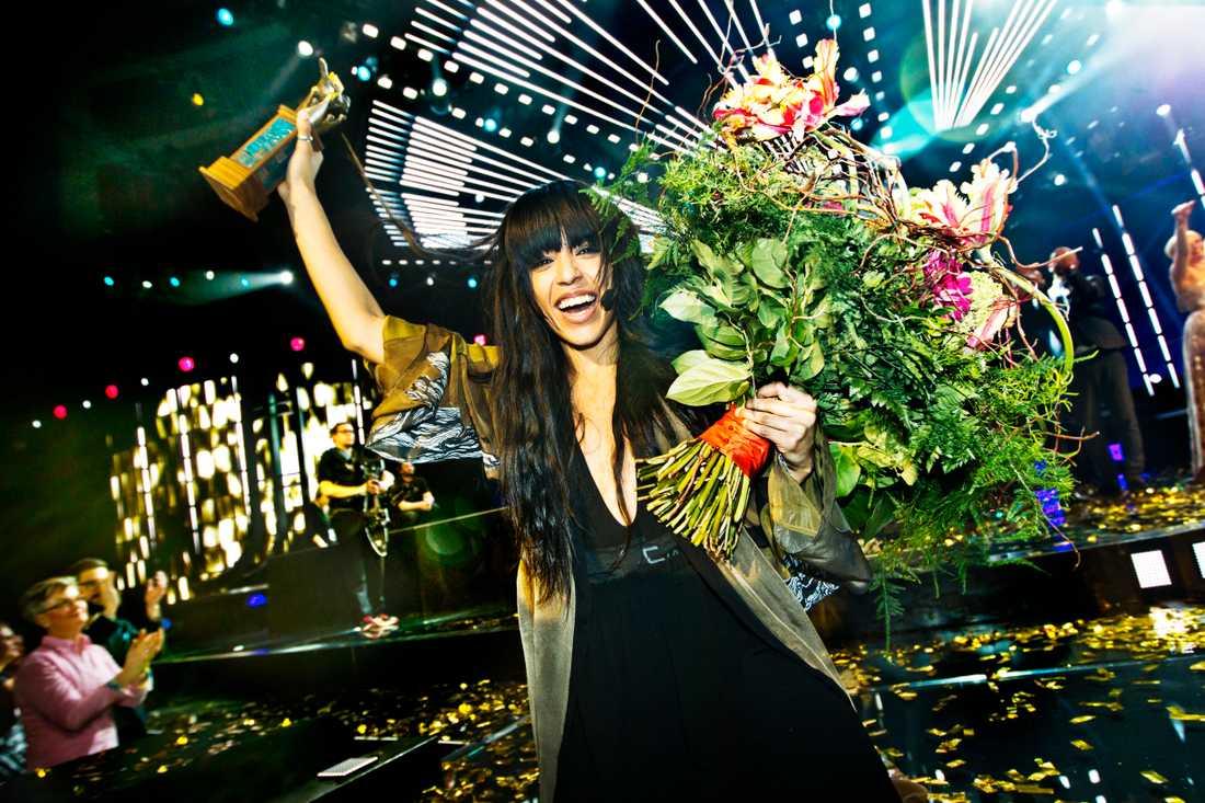 Loreen efter finalen av Melodifestivalen 2012.