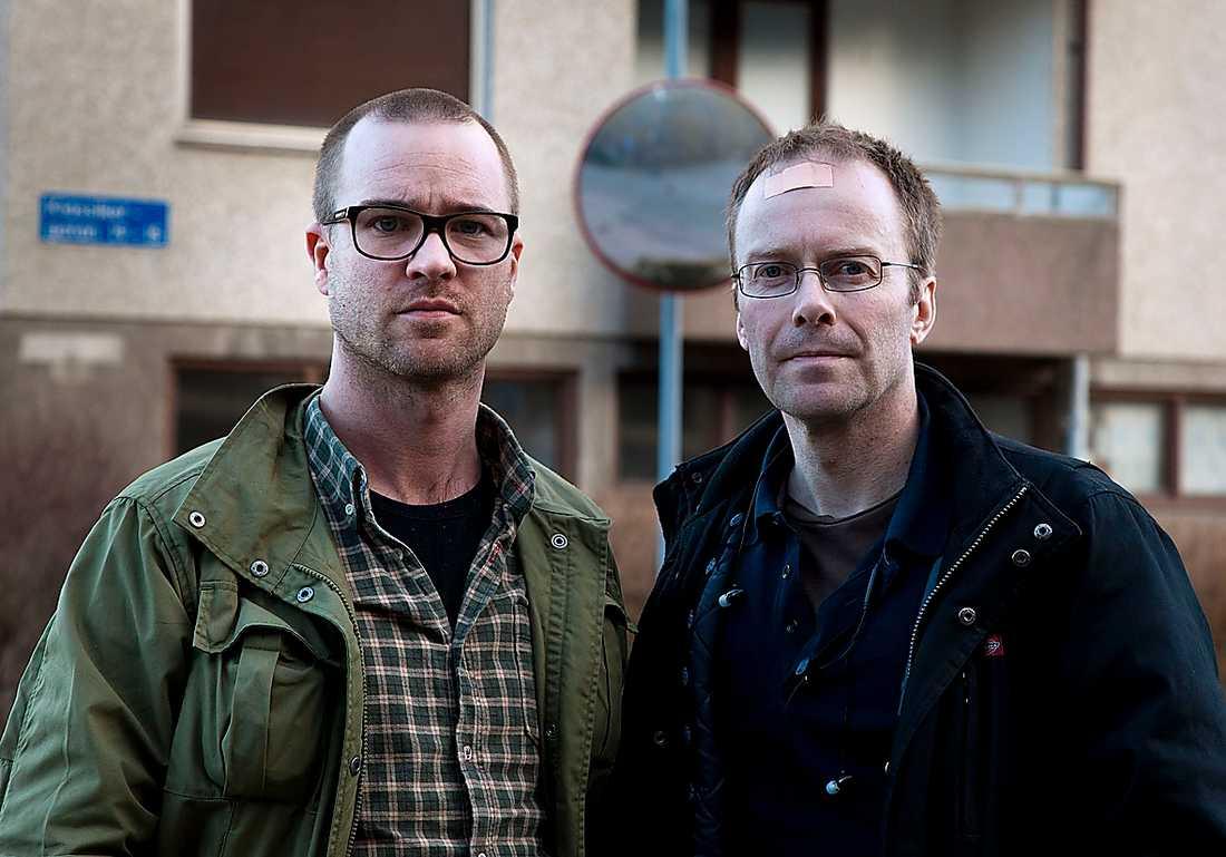 Aftonbladets team på plats i Backa – Eric Tagesson och Thomas Johansson.