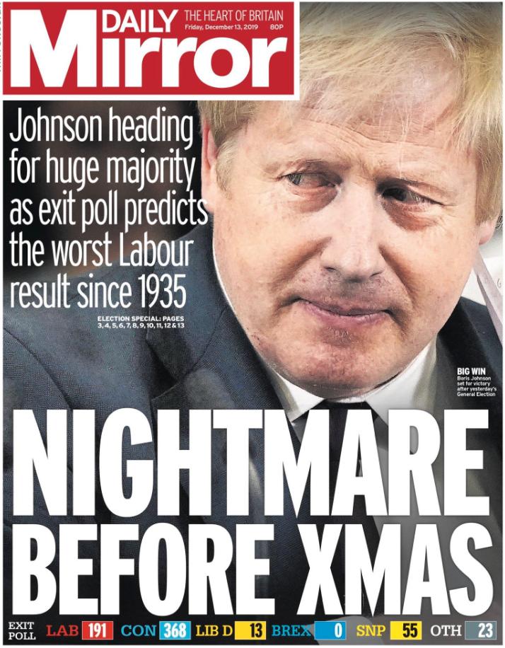 Daily Mirror kallar sig för den intelligenta tabloiden och har en mörk rubrik denna fredag.