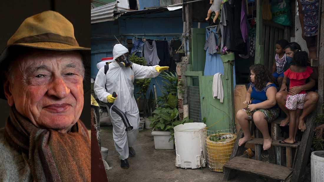 Edgar Morin (född 1920), fransk filosof, sociolog och författare, aktuell med en bok om covid-19 och om vilka slutsater vi kan dra av pandemin. Till höger: Desinficering  i en kåkstad i Rio de Janeiro. I de fattiga brasilianska områdena bygger medborgare eko-gemenskaper för att försvara sig mot covidspridningen, skriver Olle Svenning.