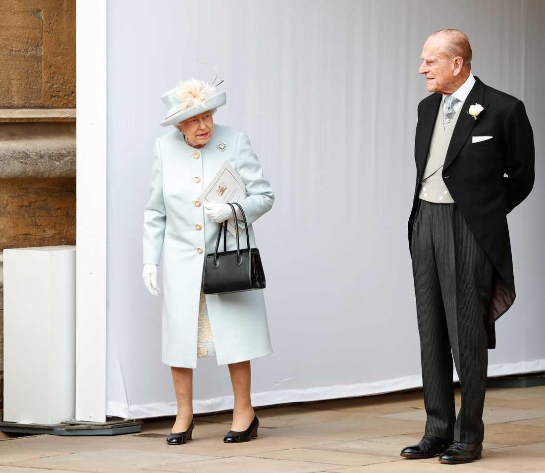 Drottning Elizabeth och prins Philip under bröllopet mellan prinsessan Eugenie av York och Jack Brooksbank, 2018.