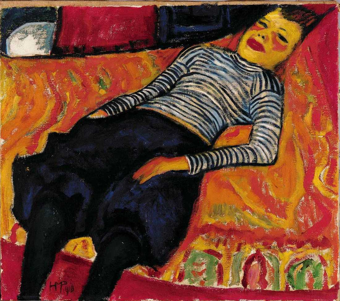 """Max Pechstein, """"Liggande flicka"""", 1910."""