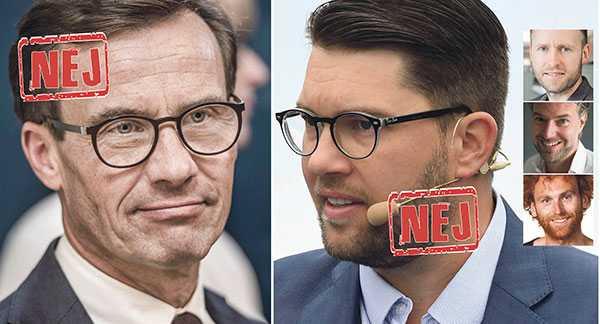 Vi blir chockade när partier som Moderaterna flirtar med SD för några ynka procent i opinionsmätningarna, skriver Sebastian Merlöv, Jonas Michanek och Måns Adler.
