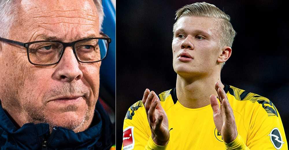 Lars Lagerbäck och Erling Braut Haaland.