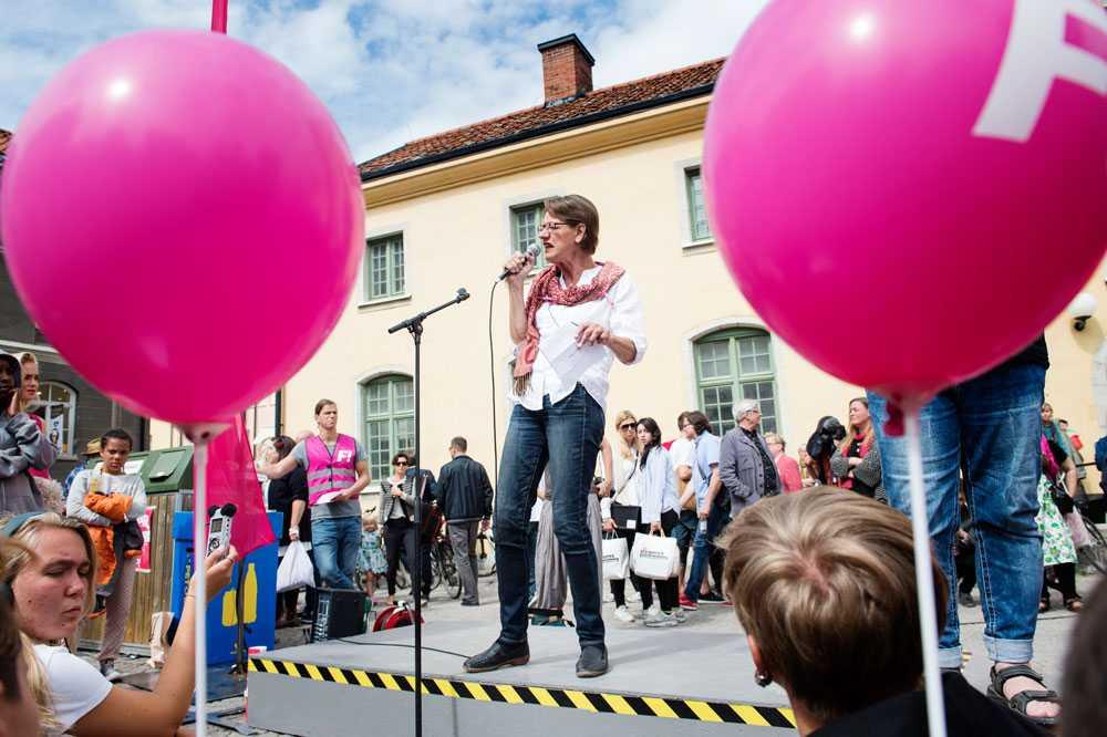 Gudrun Schyman talar på Almedalen 2014.