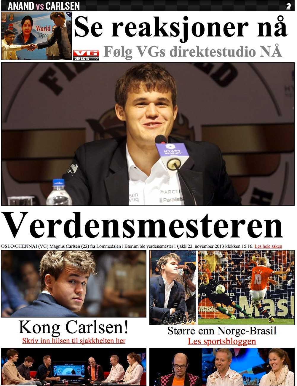 Norska VG har haft miljoner tv-tittar under sin bevakning av titelmatchen.