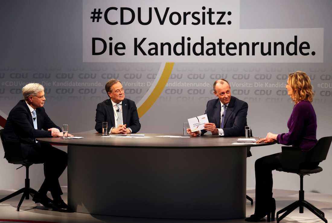 De tre kandidaterna som vill ta över ledarposten i CDU: Norbert Röttgen (t v), Armin Laschet (mitten) och Friedrich Merz (t h).