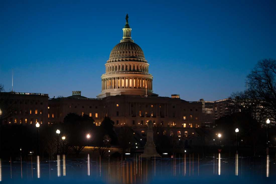 Kongressbyggnaden Capitolium i USA:s huvudstad Washington DC. Arkivbild.
