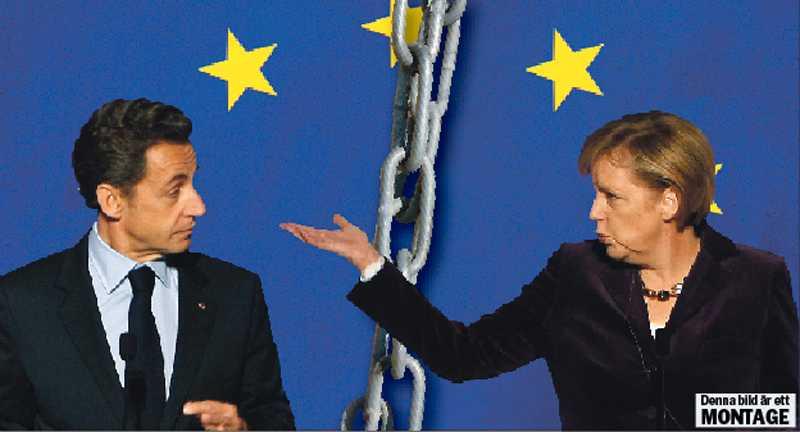 """styra trots folket Nicolas Sarkozy och Angela Merkel står bakom förslaget om den """"fransk-tyska konkurrenspakten"""" – ett förslag som möjliggör export av nedskärningspolitik snarare än europeiska visioner eller lösningar på EMU-problem."""