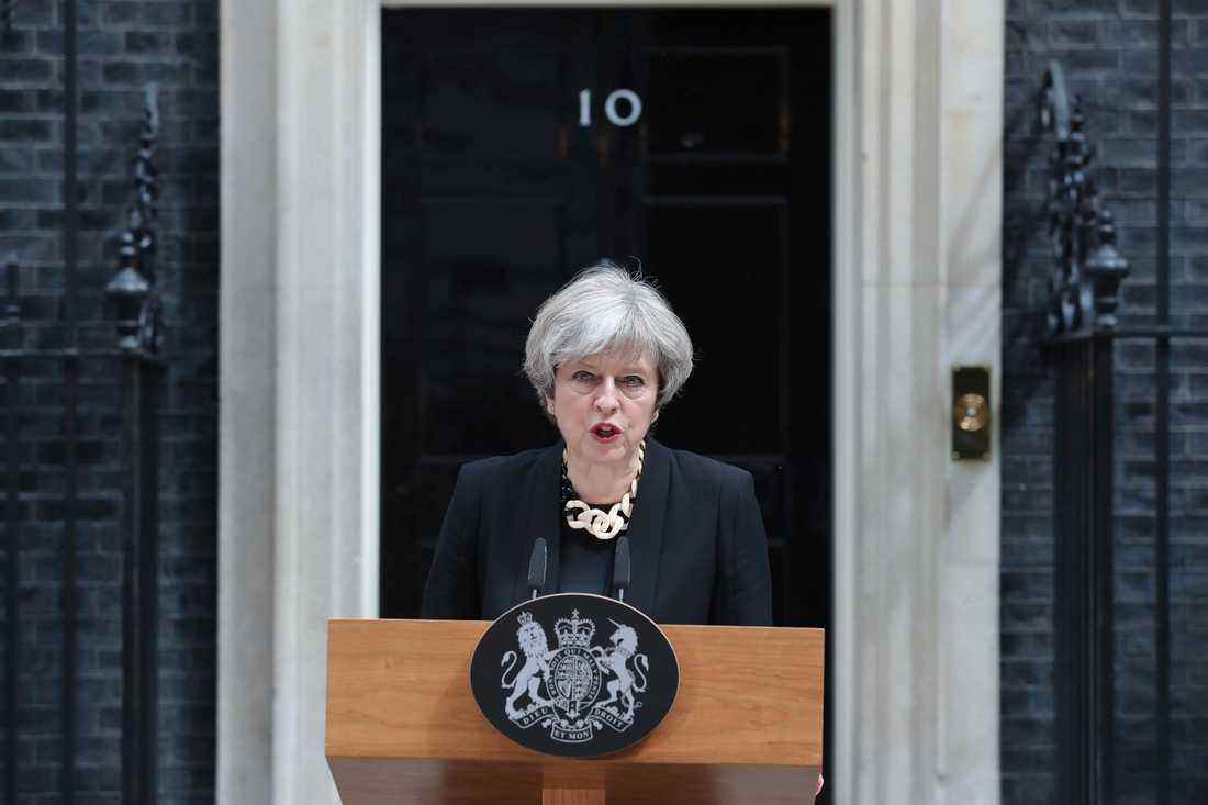 Theresa May höll ett tal på söndagsförmiddagen.