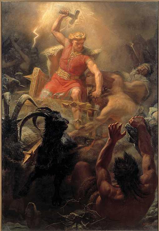 """""""Tors strid med jättarna"""" av Mårten Eskil Winge, 1872."""