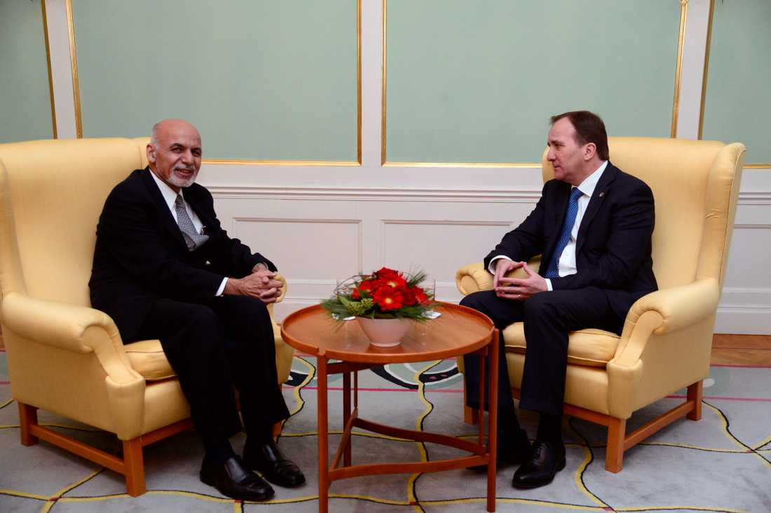 De ensamkommande står på dagordningen då Afghanistans president Ashraf Ghani träffar statsminister Stefan Löfven och utrikesminister Margot Wallström under en blixtvisit i Stockholm i dag.