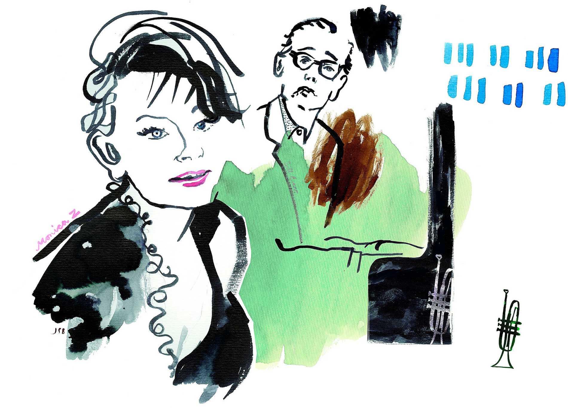 Monica Zetterlund med den amerikanske pianisten Bill Evans. Illustration av Jenny Svenberg Bunnel som just nu ställer ut sina teckningar på jazzklubben Fasching i Stockholm.