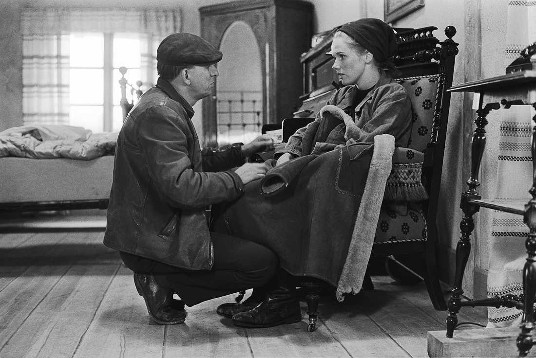 """1967. Ingmar Bergman och Liv Ullmann vid inspelningen av """"Skammen""""."""