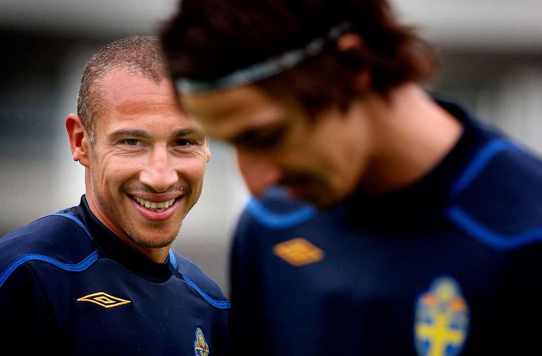 Henrik Larsson och Zlatan Ibrahimovic spelade ihop i landslaget flera år.