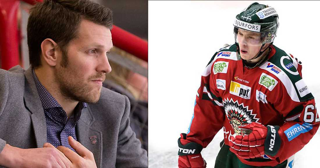 Frölundas sportchef Fredrik Sjöström, 32, och finländska stjärnspelaren Artturi Lehkonen.
