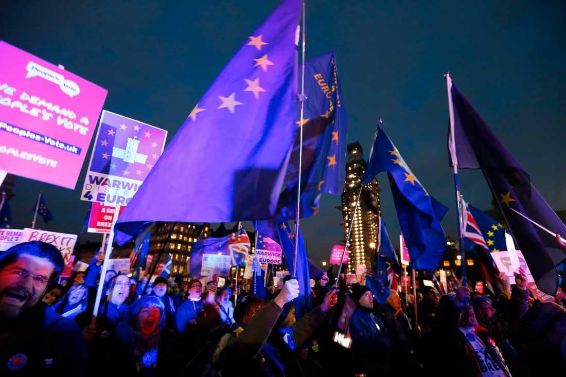 Tusentalts personer hade samlats utanför parlamentet i London för att följa omröstningen.