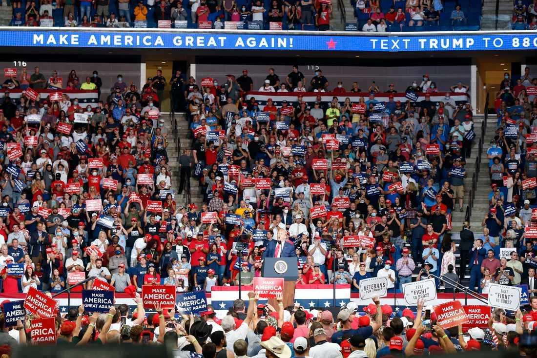 USA:s president Donald Trump höll ett massmöte i Tulsa, Oklahoma, den 20 juni.