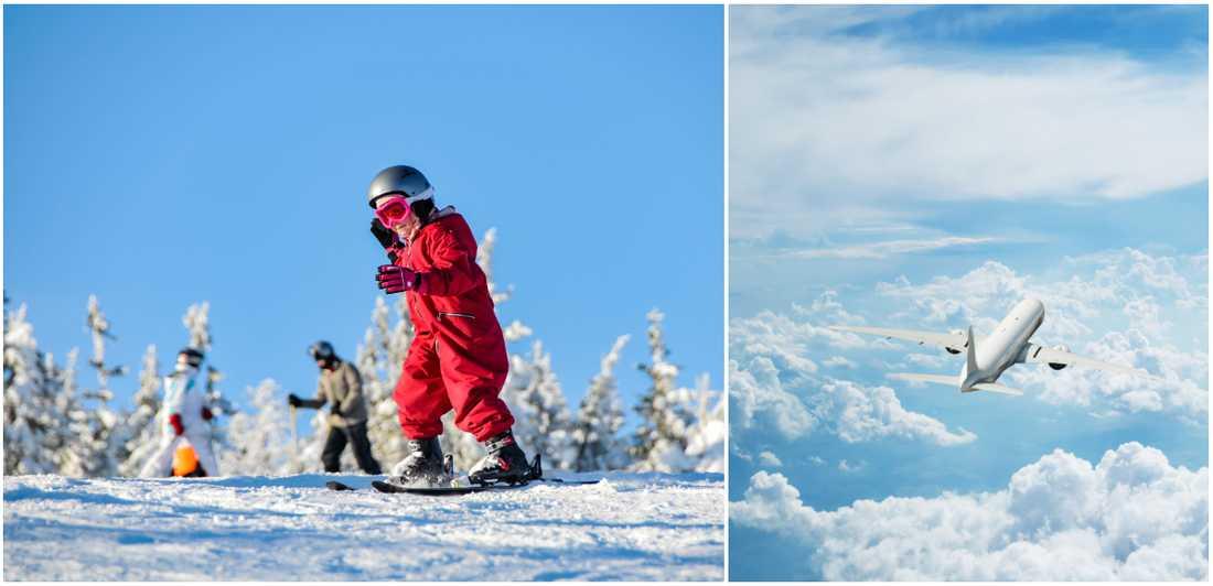 Många nya flygrutter går till skidorter.