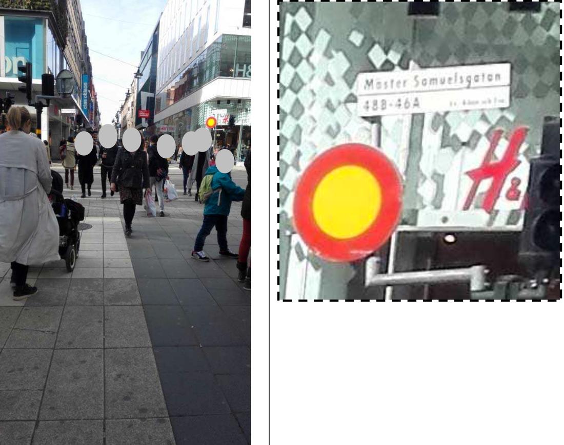 Bild från Akilovs mobil på korsningen Mäster Samuelsgatan och Drottninggatan. Fotad fredagen, klockan 13.36, två veckor före före dådet.