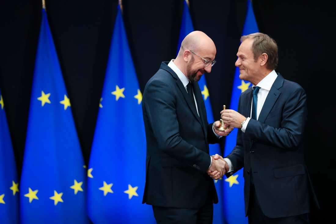 Belgiens nyavgångne premiärminister Charles Michel (till vänster) tar över som EU:s permanente rådsordförande efter Donald Tusk (till höger).