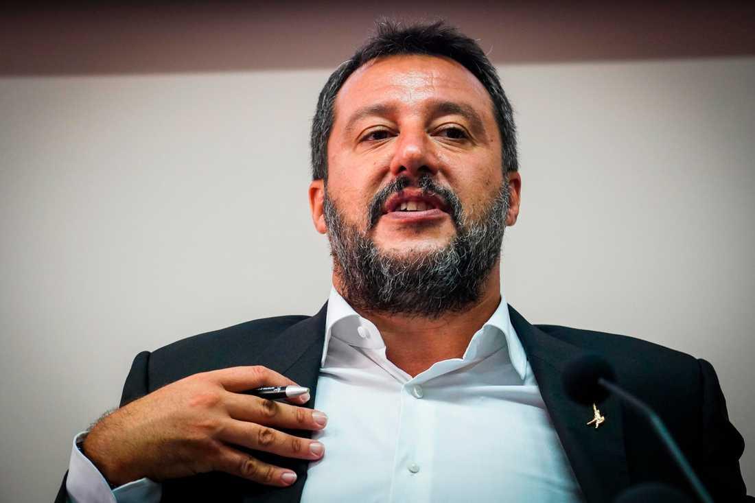 Italien inrikesminister Matteo Salvini representerar partiet Lega.