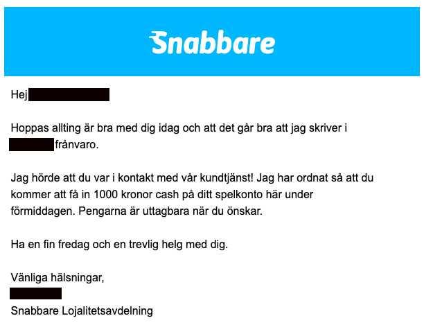April 2019. Snabbare sätter in 1000 kronor på spelkontot.