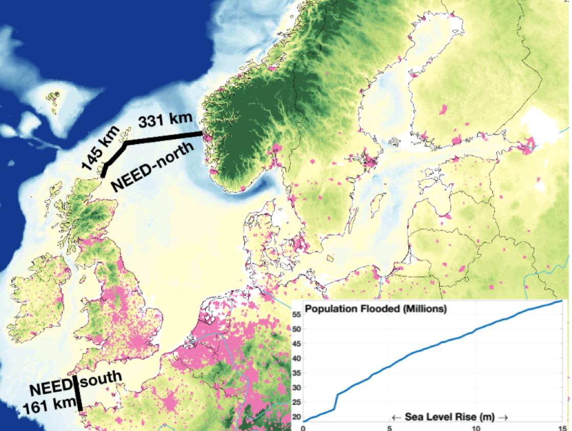 Två vallar på 47 respektivbe 16 mil ska dämma upp Nordsjön.